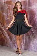 Платье черный с коралловой накидкой