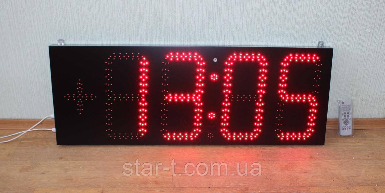 Большие яркие светодиодные красные часы-термометр.Размер 1100х400мм