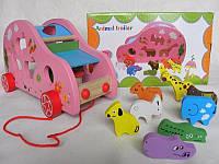 """Деревянная игрушка """"Сортер"""" каталка, машинка, фигурки-животные"""