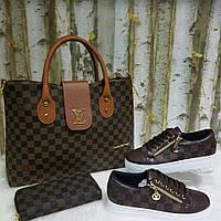 Набор: сумка, кошелек, обувь LV brown