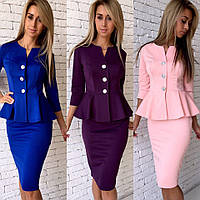Костюм модный пиджак с баской и юбка карандаш трикотаж джерси разные цвета KfL545