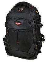 Школьный большой рюкзак 9612 black черный из нейлона с плотной спинкой
