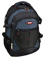 Рюкзак из нейлона черный школьный 9612 black-blue с плотной спинкой спортивный синие вставки