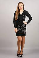 Платье черное с принтом
