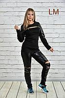 Размеры 42-74, Молодежные чёрные женские брюки 770339 батал панк с дырками на коленях больших размеров экокожа