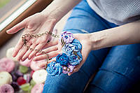Колье ожерелье из цветов - Джинсовое