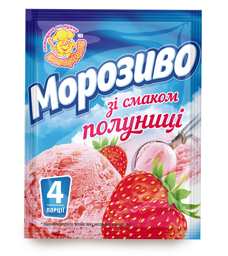 Мороженое со вкусом клубники 60 г.