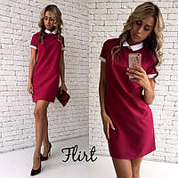 Платье модное мини с остроугольным воротником 5 цветов SMfL1677