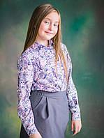 Стильная блуза для девочки в стиле Шанель Узоры (р.128,134,140,146)