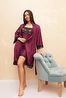Халат женский шелковый сливового цвета