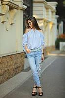 """Летняя ;женская блуза в полоску """"Gamma"""" с завязками (2 цвета)"""
