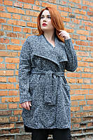 Жакет-пальто большого размера Лист ирмана букле батал, пальто-кардиган для полных женщин 52, серый