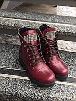 Женские кожаные ботинки молния и стразы на шнурках