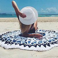Пляжный коврик Мандала, сине-черный