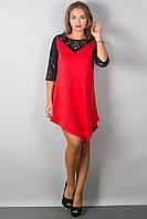 комбинированное красное платье