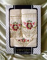 Супер!!! Набор полотенец Vevien Elegance 100% хлопок махра - баня+лицо+салфетка Турция