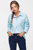 Рубашка с жемчугом PERL голубая