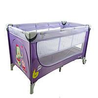 Двухуровневый Манеж-кровать CARRELLO Piccolo+сумка, Purple