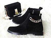 Женские черные кожаные ботинки низкий ход в стилеTommy Hilfiger