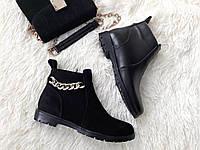 Женские черные замшевые ботинки низкий ход в стилеTommy Hilfiger