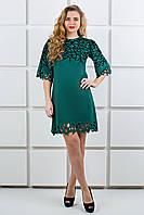 Платье зеленое с бархатной накаткой