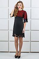 Платье черное с бархатной накаткой