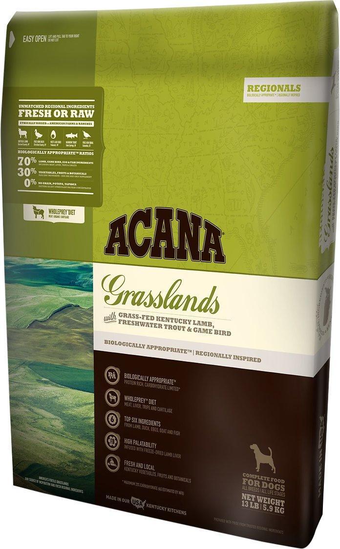 Acana Grasslands Dog 11,4 кг акана для собак всех пород и возрастов без зерна, с ягненком