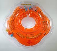 Круг для купания малыша Baby Swimmer Classic с погремушкой оранжевый