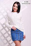 Белоснежный молодёжный свитер. 138 Молоко