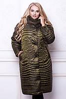 Женское зимнее пальто оливкового цвета больших размеров (52, 54, 56, 58, 60)