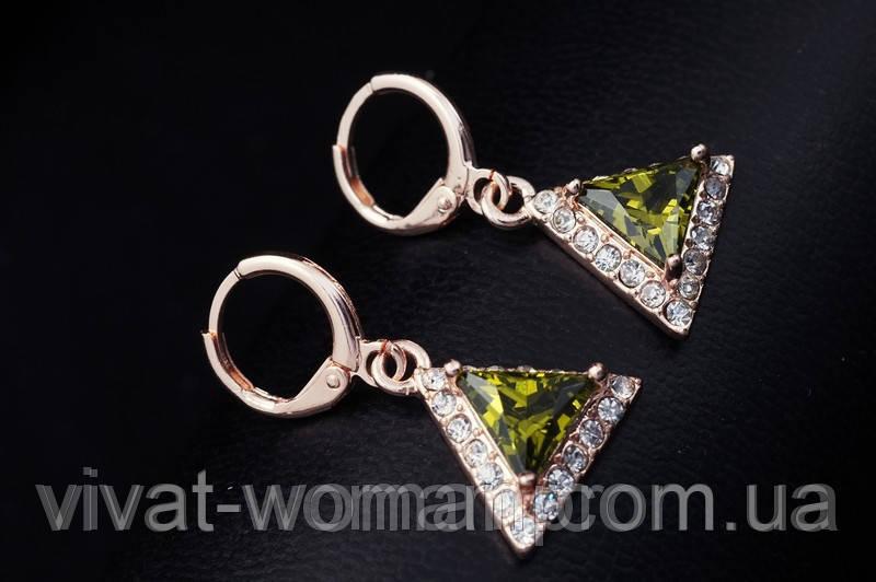 Серьги, покрытие золотом 18К, куб. цирконий под зеленый перидот, треугольник