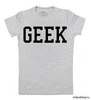 """Женская футболка """"GEEK"""" серая"""