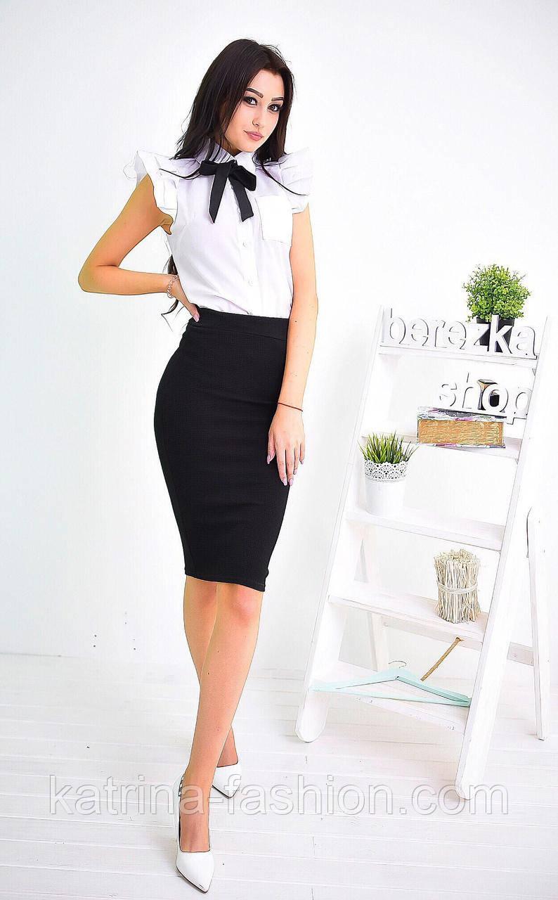 7f15e3a95cc Женский костюм  белая рубашка блуза с коротким рукавом и черная юбка-карандаш