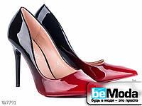 Необычные туфли женские Lady LiLy Black/Red с оригинальным цветным переходом красные с черным