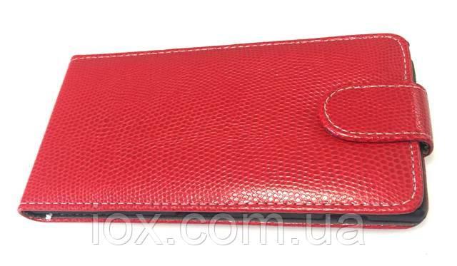 Кожаный чехол-флип на магнитной застежке для Lenovo K900 Красный