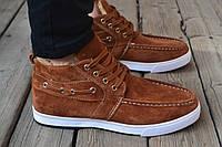 Ботинки мужские зимние замшевые коричневые