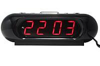 Часы  от сети VST-716 красные