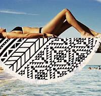 Пляжный коврик Мандала. Черно-белый узор 150-160см.