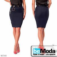 Стильная юбка женская  Blue с оригинальными карманами синяя