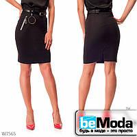 Стильная юбка женская  Black с оригинальными карманами черная