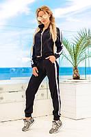 Женский шелковый костюм со штанами и бомбером (черный) Love KAN № 0104
