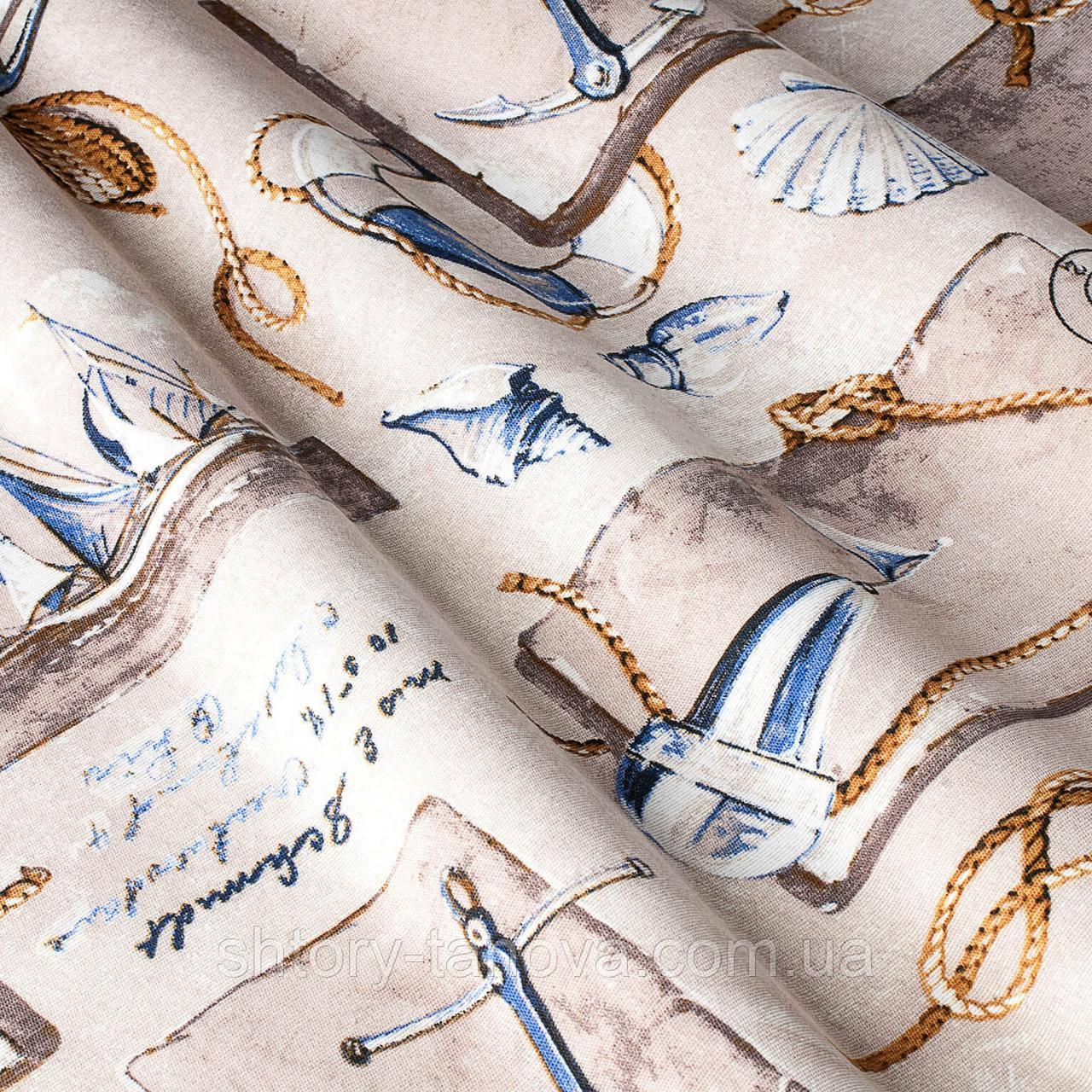 Декоративная ткань принт морская тематика