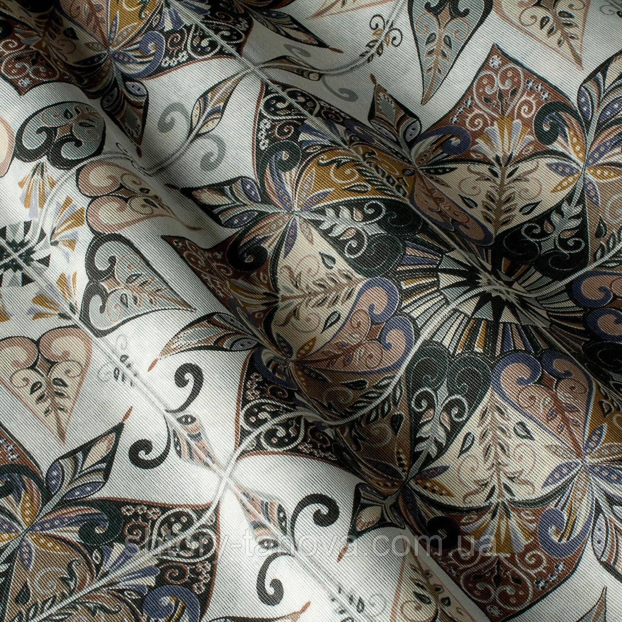 Декоративная ткань принт узорная плитка