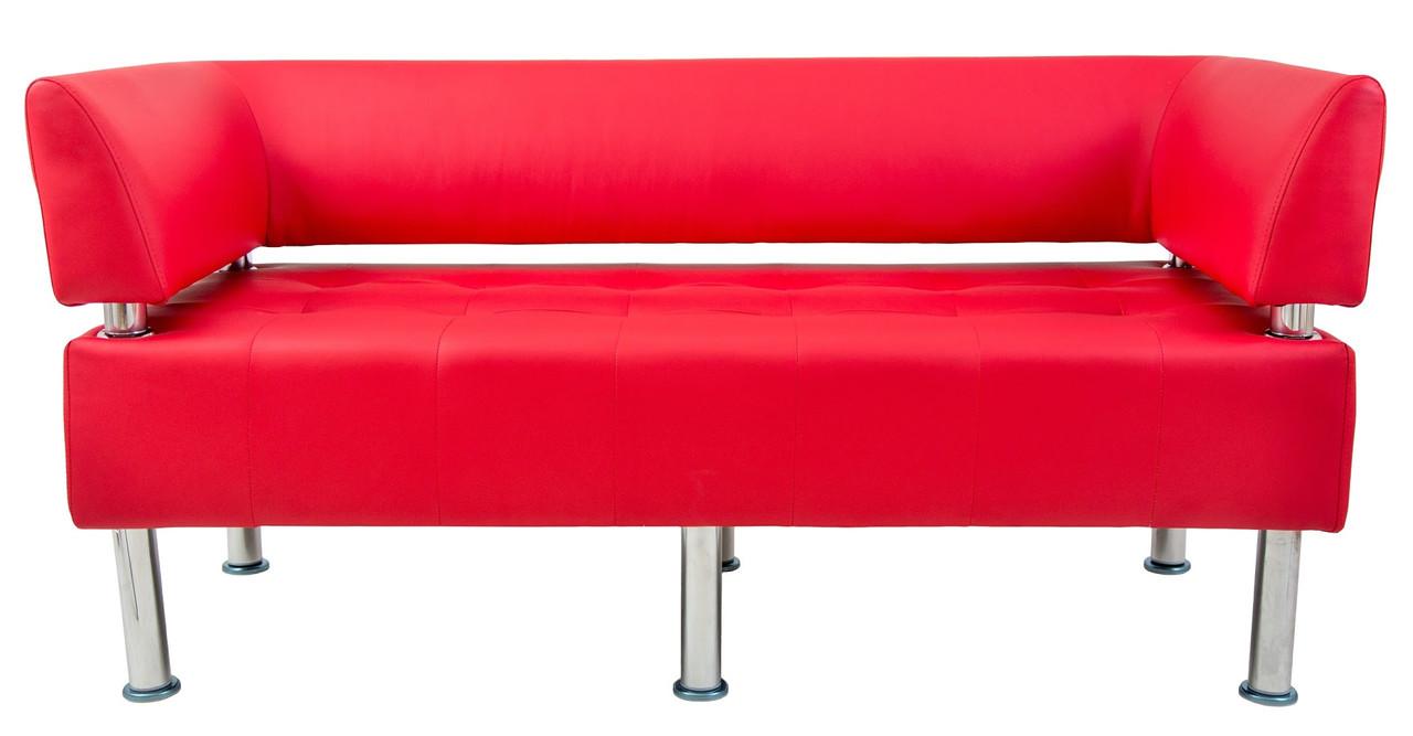 Диван Офис 155 см флай красный со спинкой и подлокотниками
