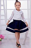 Школьная юбка с вставкой из сетки, черный/т.синий.