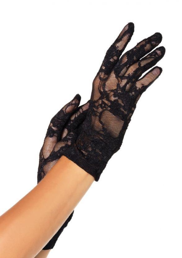 Гипюровые перчатки черные