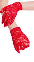 Гипюровые перчатки красные