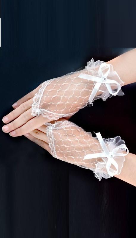 Ажурні рукавички без пальців білі