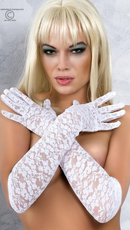 Кружевные длинные перчатки белые