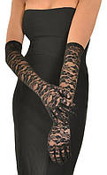Кружевные длинные перчатки черные